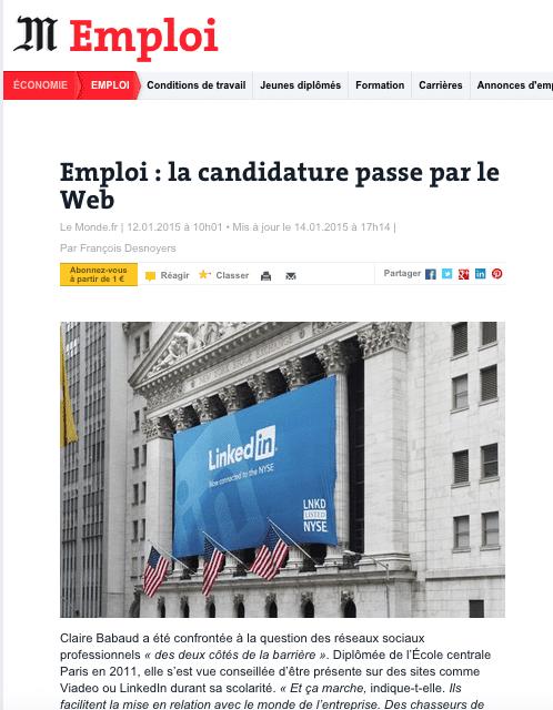 Emploi la candidature passe par le Web