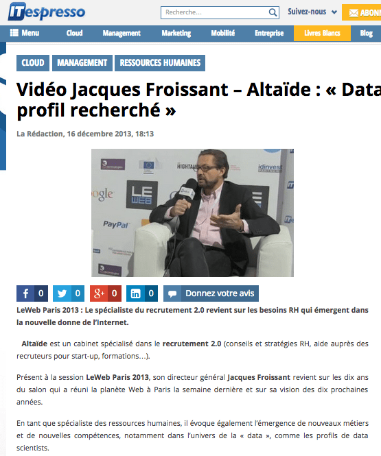 Vidéo Jacques Froissant – Altaïde